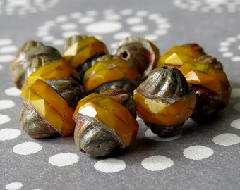 Picasso Czech Glass Turbine Bead Mustard Antique Style Faceted 11x10mm Oval : 10 pc Orange Yellow Picasso Bead