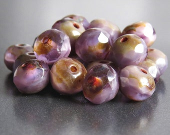 7x5mm Lavender Fields Czech Glass Picasso Beads Faceted Rondelle : 12 pc Lavender Czech Bead