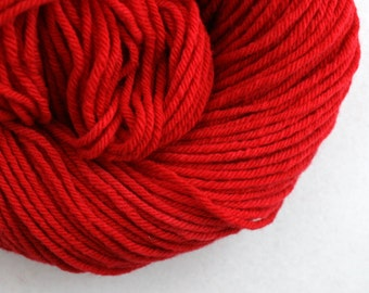 Hand Dyed Aran weight mini Empire Rambouillet Wool 213 yds 4oz Bing Cherry