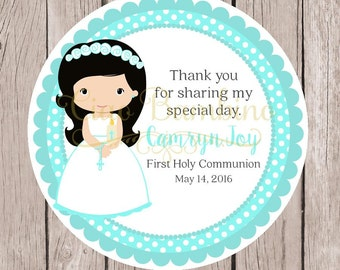PRINTABLE Girls First Holy Communion Favor Tags in Aqua Blue / Print your own Personalized Communion Sticker / Choose Hair Color / You Print