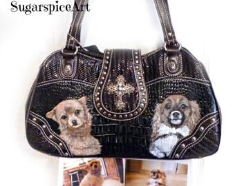 Chihuahua Hand Painted Custom Handbag