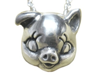 Pig Necklace     Silver Gold jewelry sterling jewelry