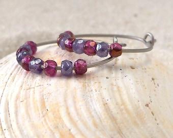 Hypoallergenic Earrings - Hypoallergenic Bead Earrings - Glass Bead Jewelry - Hypoallergenic Hoop Earrings - Pure Titanium Hoop Earrings