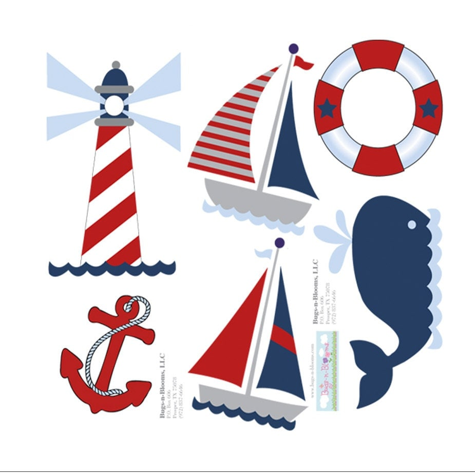 nautical ocean wall decals mural sticker boat whale light. Black Bedroom Furniture Sets. Home Design Ideas