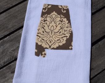 State of Alabama brown and cream flour sack tea towel - personalized gift - customizable - tea towel - home state pride