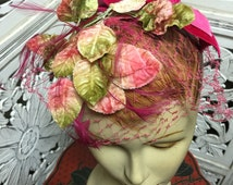1950s floral veil 50s millinery vintage fascinator velvet bow
