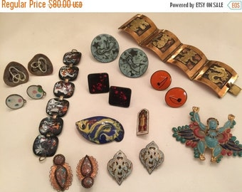 On sale lot of ethnic jewelry enamel jewelry copper bracelet resale lot 1950s jewelry mid century jewelry