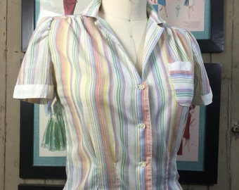 1970s blouse 70s pin striped top size small Vintage fitted shirt puff shoulders cotton blouse
