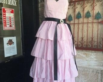 1980s pink dress pin striped dress 80s strapless dress party dress size small Vintage prom dress