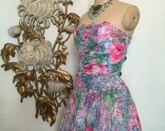 1980s dress floral dress chiffon dress party dress size medium vintage dress coba reese strapless dress sheer dress