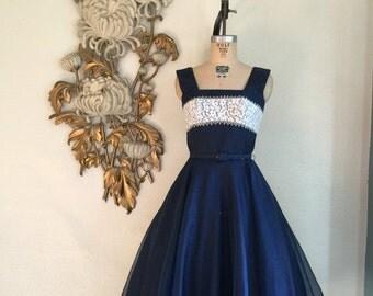 Fall sale 1950s dress organza dress party dress size medium vintage dress navy dress bridesmaid dress 27 waist