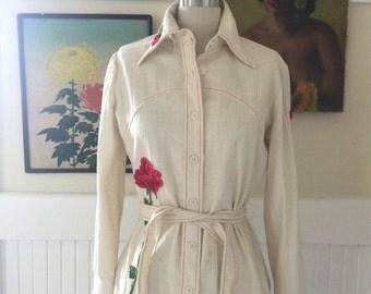 Fall sale 1970s blouse cotton shirt hippie shirt size medium bohemian blouse vintage blouse appliqued shirt
