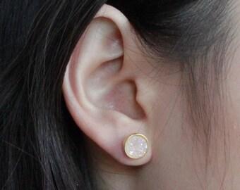 White Druzzy Studs/Gold Druzzy Studs/White Druzzy/Druzzy Earrings/Earrings/Jewelry/Druzzy Jewelry/Gift for Mom/Gift Ideas