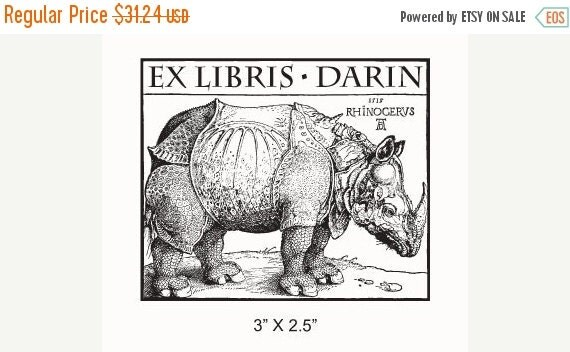 Octoberfest Sale Personalized Rhinoceros Bookplate Ex Libris Rubber Stamp F15
