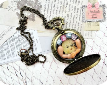 Doll Parts Pocket Watch Insanely Sweet Necklace- antique doll arms head vintage