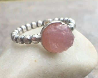25% OFF - Raw Rose Quartz Sterling Silver Size 7