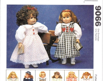 "McCalls 9066 Doll Clothes 18"" American Girl Gotz 6 Outfits Dress Bathrobe Coat Hat Sewing Pattern Out of Print UNCUT"