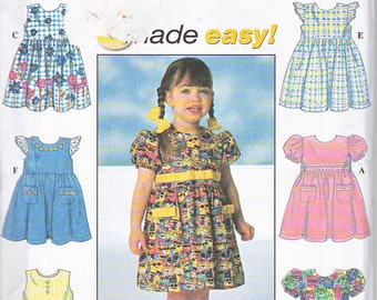 Simplicity 7669 Toddler Girls Summer Spring Dress Easy Sewing Pattern Sizes 2-4 Out of Print UNCUT