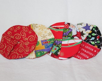 Merry Christmas Fabric Wine Coaster set of4
