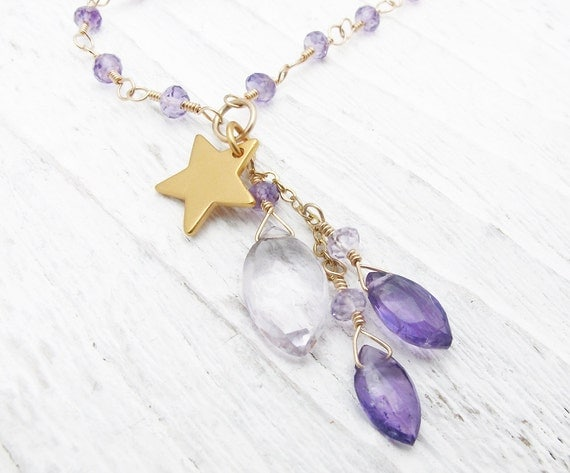 amethyst necklace, purple gemstone necklace, gold necklace, luxury necklace, amethyst briolette necklace,  gold star necklace, gift for her