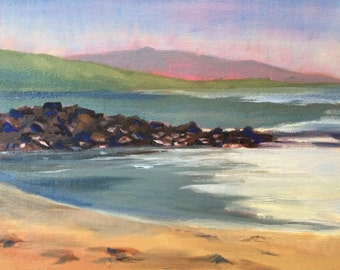 California beach with mountains original seascape oil painting on canvas