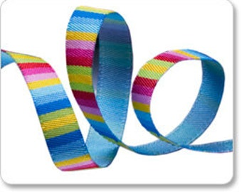 "3/8"" Blue Pink Yellow Fiesta Stripe - Jane Sassaman"