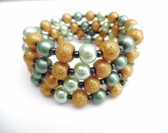 Plus Size Pearl Wrap Bracelet, Seafoam Mint and Gold Beaded Bracelet, Memory Wire Wrap Bracelet, Chunky Bracelet, One Size Bracelet, Beach