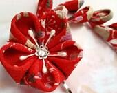 Red Mini Lilac Cherry Blossom Kanzashi Flower Japanese Fabric Hair Clip Festival Mini Bells