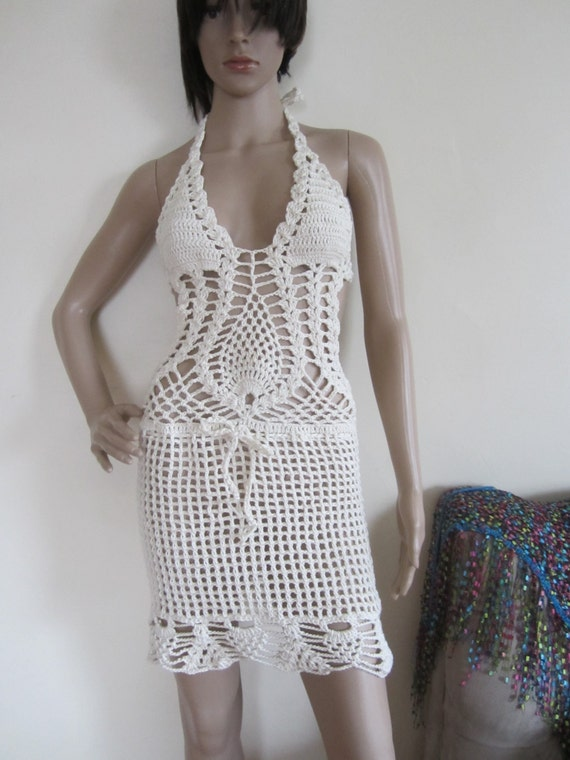 Crochet Monokini : CROCHET DRESS, Crochet monokini dress, crochet dress,monokini halter ...