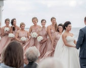 Custom Infinity Dresses for your Beach Wedding featured on Masterchef Season 5, Wedding Chicks, Ruffled, OffBeat, Made in the USA Challenge