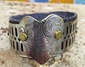 Gray Leather Cuff with Vintage Silver Tray Cut Heart