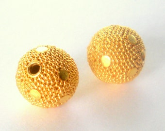 Gold Vermeil Round Bali Beads 12mm 2 pieces