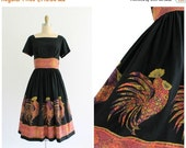 ON SALE rooster novelty print dress | vintage 1950s black novelty rooster motif dress | vtg 50s shirtdress | x-small xs