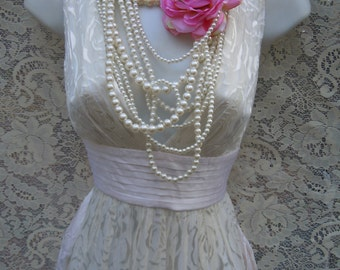 Ivory wedding dress embossed floral silk empire vintage  romantic   small  by vintage opulence on Etsy
