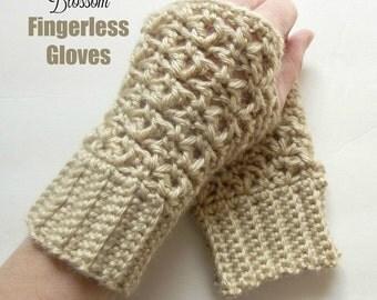 Blossom Fingerless Gloves - Crochet Pattern
