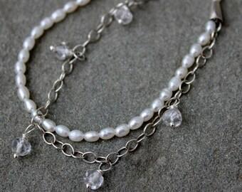 Multi-Strand White Pearl & Silver Chain Bracelet, Crystal Quartz Gemstone Bracelet, Carrie Whelan Designs