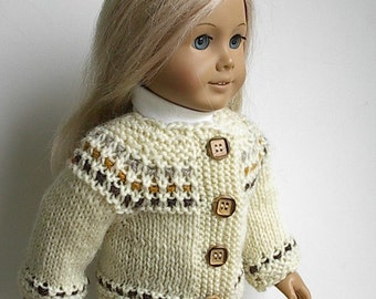 "18 Inch Doll Clothes Handknit Cardigan Sweater in Natural with Tan, Gold and Brow Handmade to fit American Girl and Other Similar 18"" Dolls"