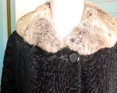 ON SALE.......Vintage womens 1940's Livingston bros lambs fur jacket. size M