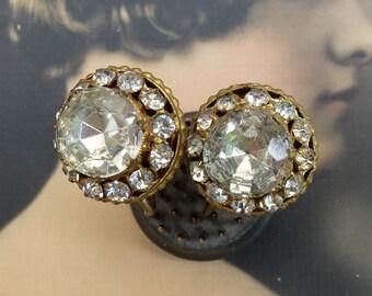 Vintage Earrings Czechoslovakian Clear Stones Screw Back