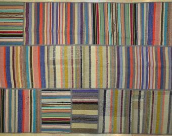 Multicolor Neutral Dark Stripe Patchwork Rug Wool Kilim Handwoven Turkish 5'x6.5'