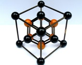 mid century molecular model scientific physics geometric sculpture wood stick and ball abstract 1950s modern black amber