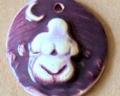2 Handmade ceramic beads - Summery Goddess beads - Stoneware Earth Mother Willendorf Venus beads in Purple and Aqua