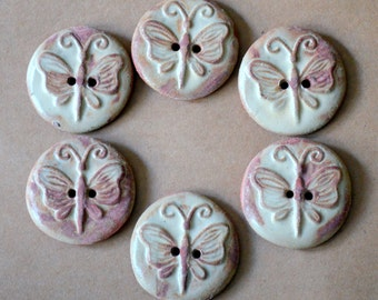 6 Handmade Ceramic Buttons - Butterfly Buttons in Rustic Rust Stoneware - Focal buttons for handknit and crochet beauties