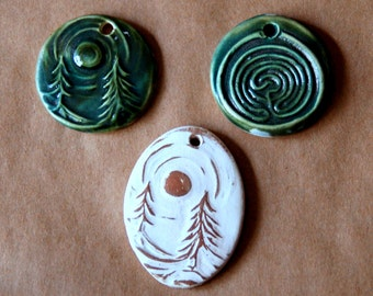 3 Handmade Ceramic Pendant Beads - Large Focal Beads with Labyrinth and Moonlit Forest Designs