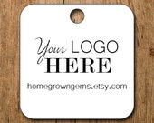 "Customized 2"" Round Square Logo Hang Tags Price Tags Product Display - favor - thank you  