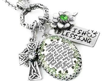 St. Patricks Day Necklace, Saint Patricks Day Jewelry, Green Shamrock Necklace, Four Leaf Clover Necklace, Celtic Cross Necklace