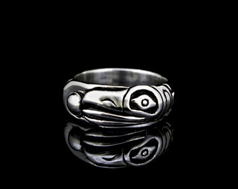 Raven Steals the Sun Ring, recycled silver, ecologically responsible, eco-friendly jewelry