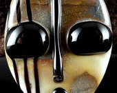 Silver and Ivory Face by...Laurie Geller Handmade Glass Lampwork Bead...RESERVED for BONNIE...SRA