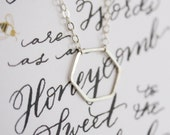 Pleasant Words are as an Honeybomb Hexagon Necklace--Sterling Silver Honeycomb