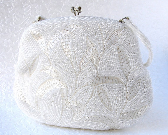 Silk White Wedding Beaded Purse Vintage Glass Bead Handbag Bridal Clutch Formal Evening Bag Pale Gold Colored Kiss Clasp Bead Strap Leaves